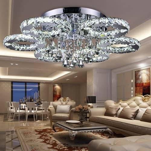 LAMPA KRYSZTAŁOWA PLAFON LED 80cm 88W B. Zimna lub Ciepła